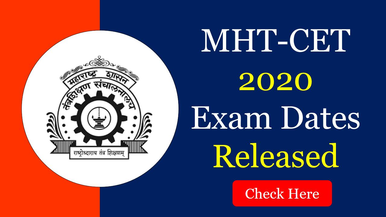 MHT CET 2020 Exam Dates