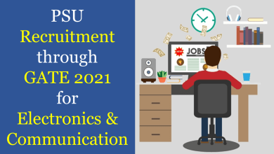 PSU recruitment through gate 2021 for ECE