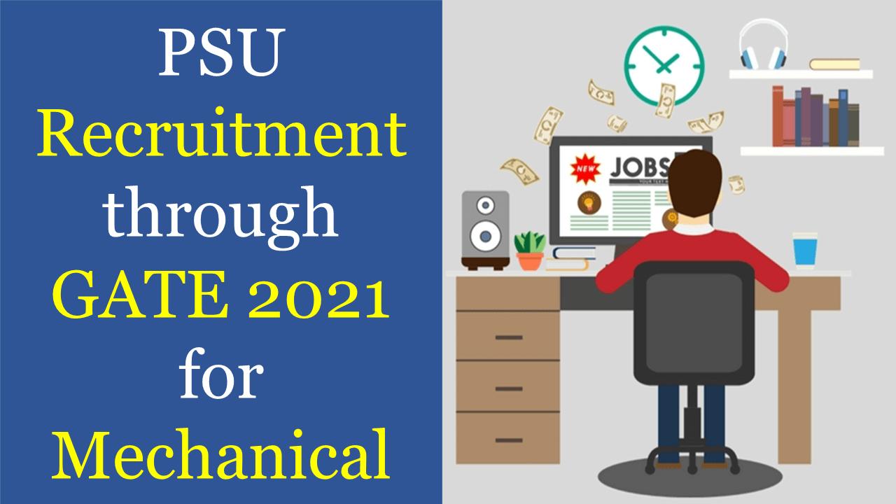 psu recruitment through gate 2021 for mechanical