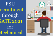 psu recruitment through gate 2021 for mechanical