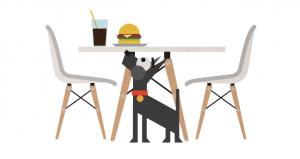 Perro bajo mesa