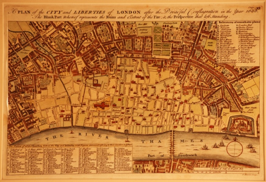 Gaubert Early London Maps post 1666 map