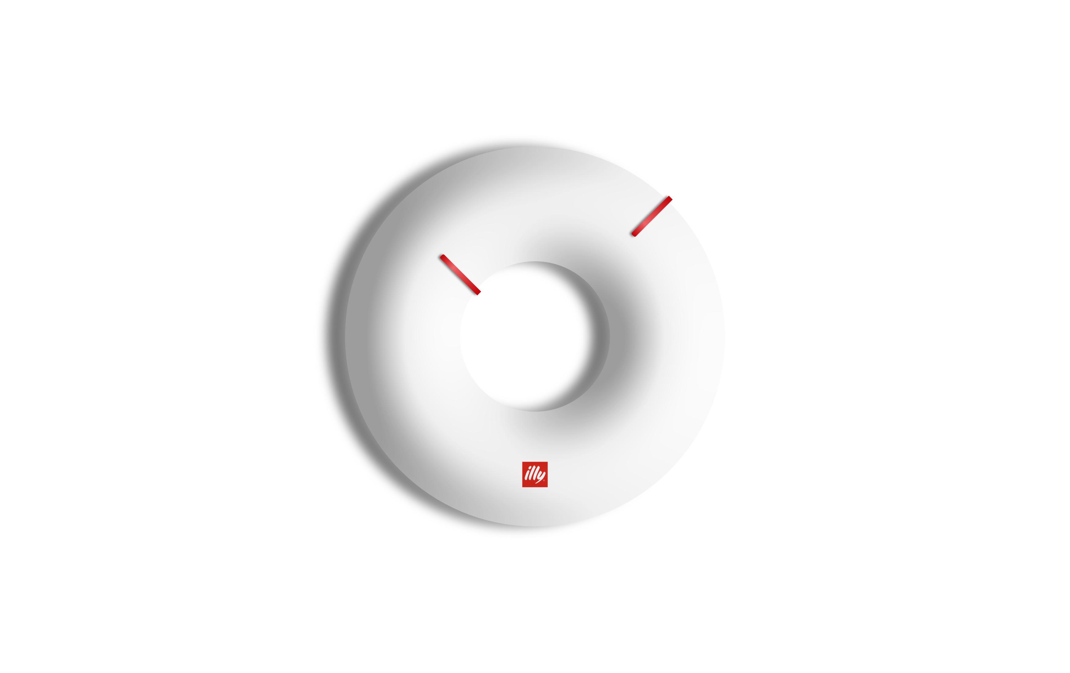 orologio da parete di design di colore bianco con lancette rosse
