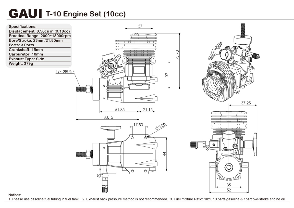 T 10 Engine Set 10cc