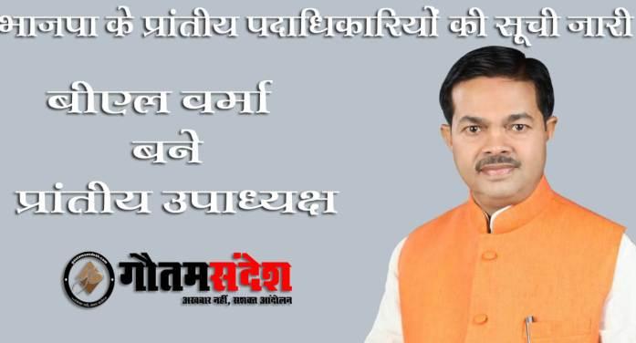 बीएल वर्मा बने उपाध्यक्ष, मंत्री और राजवीर सिंह संगठन से बाहर