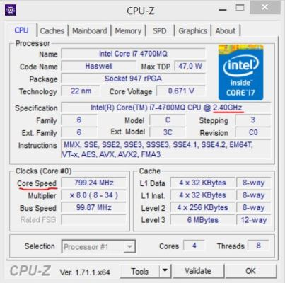 Clock speed of i7-4700MQ in idle state