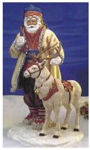 Miniature of male Laplander with a reindeer.