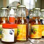 Bottled honey sold to visitors