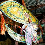 These kites are known as the Wau Bulan (Moon Kites) because of their cresent shape