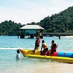 Exciting banana boat ride in Pangkor Island