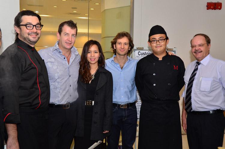 (L-R) Federico Michieletto, Modesto Marini, Norine Majaman, Jarno Trulli, Marini's on 57's Sous Chef and Charles Van Coller