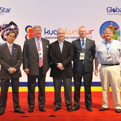 (From Left) Jeremiah Lim - COO of Sunway Travel, Jeremy Bull - outgoing Chairman of GlobalStar, Duncan Bureau - Senior Vice President Global and Sales Distribution of Malaysian Airlines, Steve Hartwell - President of GlobalStar and Matt Cumming - new Chairman of GlobalStar