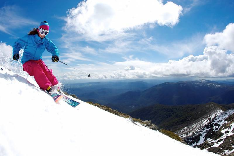 Nicole Lewis on the Summit Ridge of Mt Buller