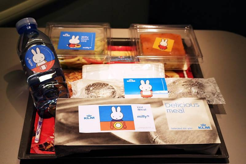 Miffy themed meal served during the special flight on KLM