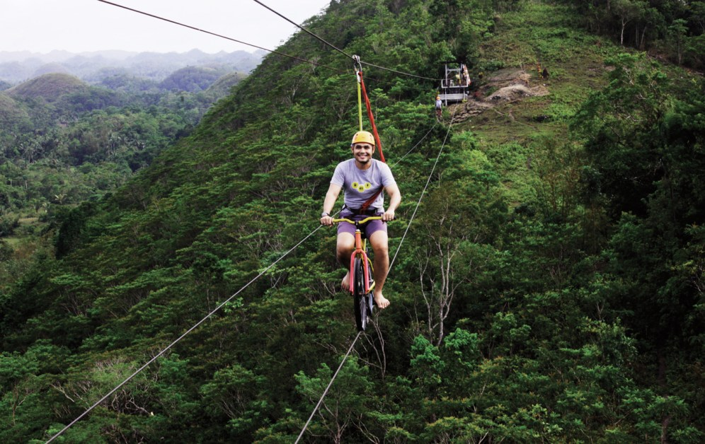 One of the activities available, Bicycle Zip Lining.