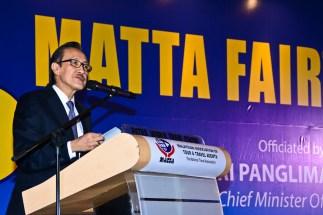 YB Datuk Seri Panglima Masidi Manjun - Minister of Tourism, Culture and Environment of Sabah giving his speech
