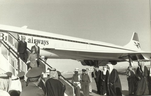 HM The Queen arrives by Concorde at Kuwait 1979
