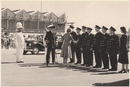 HRH Princess Elizabeth meets her BOAC Argonaut crew that had flown her from El Adem to Nairobi, arriving there on 1 February 195