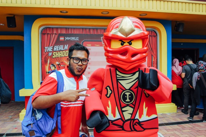 A lucky fan posing with Ninjago