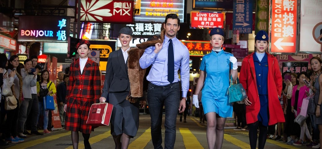 Supermodel David Gandy dons vintage 1920s pilot outfit as catwalk stars help British Airways celebrate 80 years of flying to Hong Kong with VIP gala