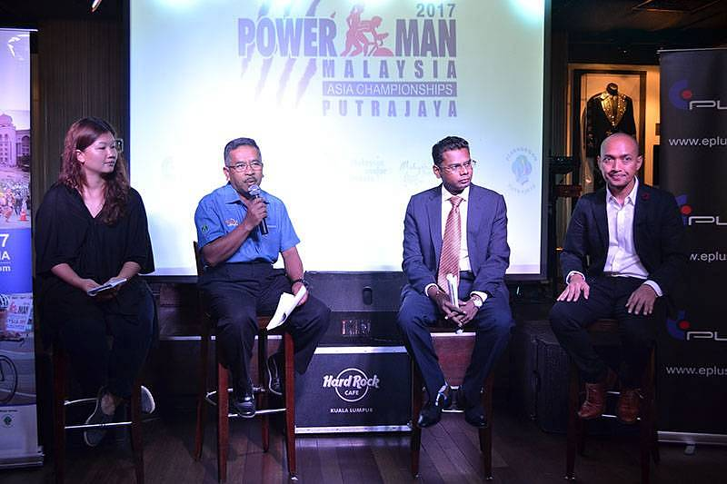(L-R)Barbara Lam, Managing Director, E-Plus Entertainment Productions (M) Sdn Bhd; Mohammad bin Salleh, Community Service Director, Perbadanan Putrajaya; Tony Nagamaiah, General Manager of Malaysia Major Events; and Iskandar Shahril, Race Director for Powerman Malaysia, Thailand and Indonesia, delivering their speeches at the Powerman Asia Duathlon Championships 2017 – Malaysia's press conference.
