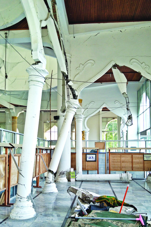A few parts of Masjid Rahmatullah in Lampuuk affected by the tsunami that can still be seen today