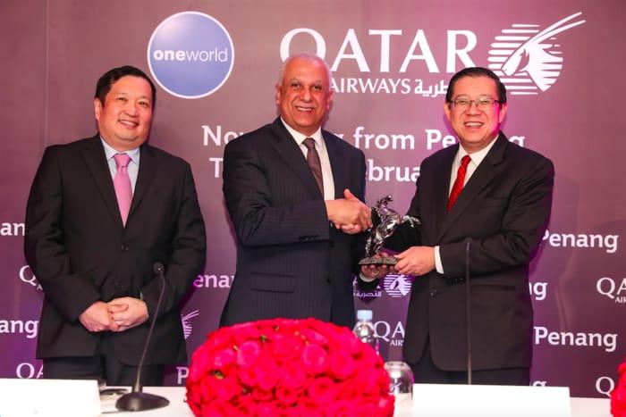 Qatar Airways' Inaugural Flight to Penang, Malaysia Touches Down at Penang International Airport