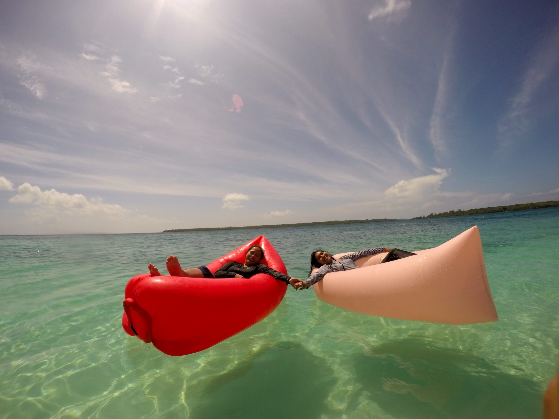 A beautiful day at Adranan Island relaxing on the floats