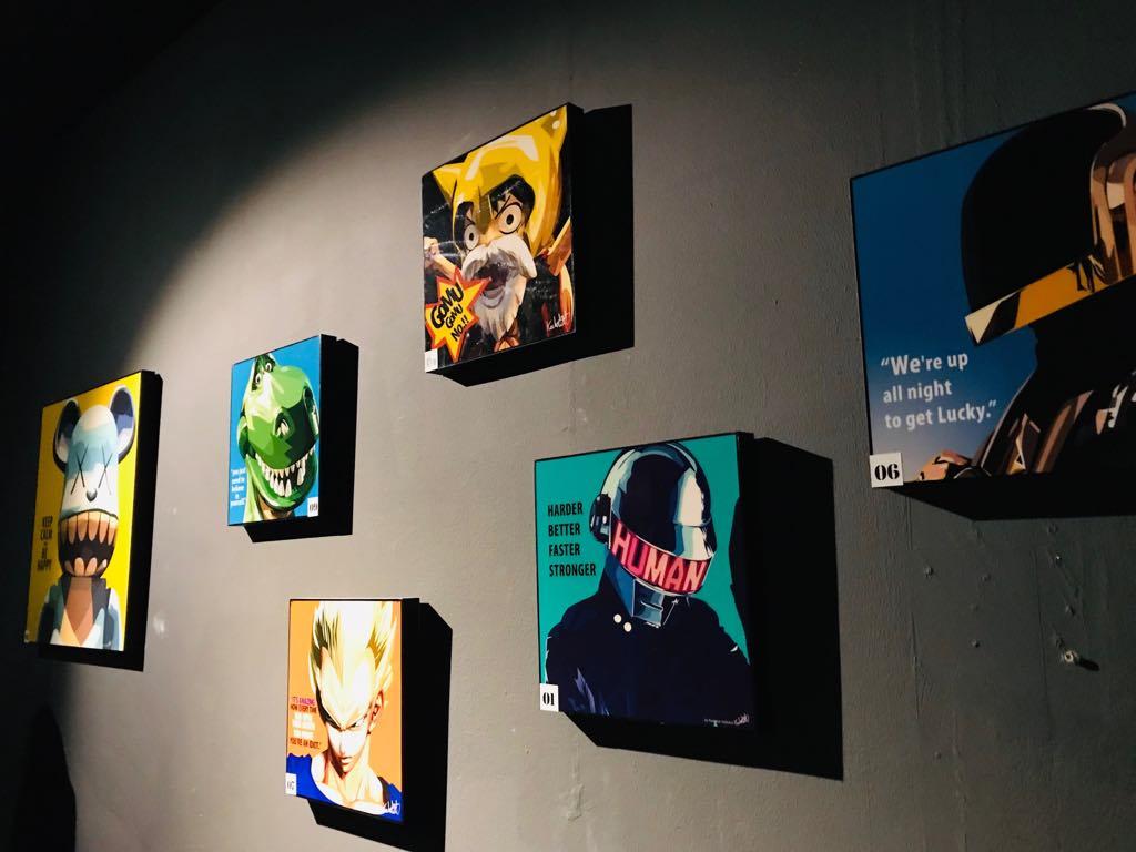 Pop art decorations along the walls