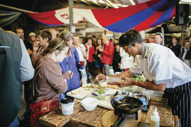 Local chef cooking at festival.