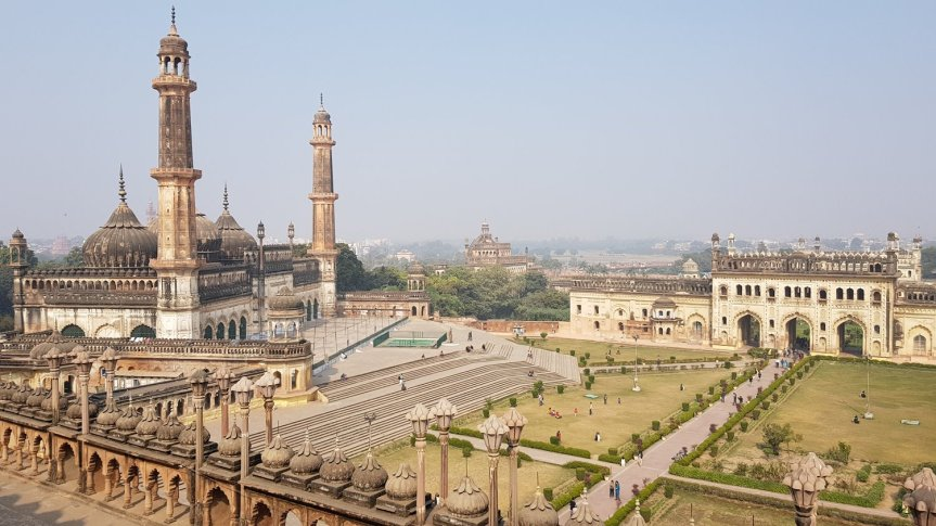 Part of Bara Imambara complex viewed from the top of Imambara main hall
