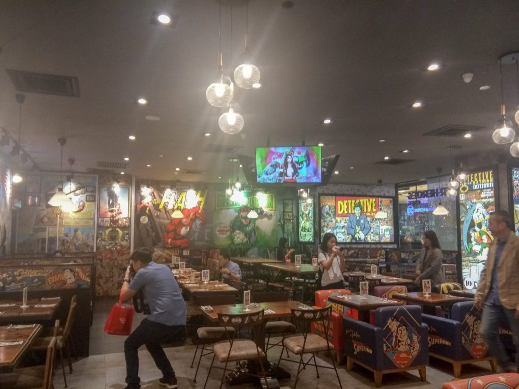 The interior of the DC Superhero themed cafe