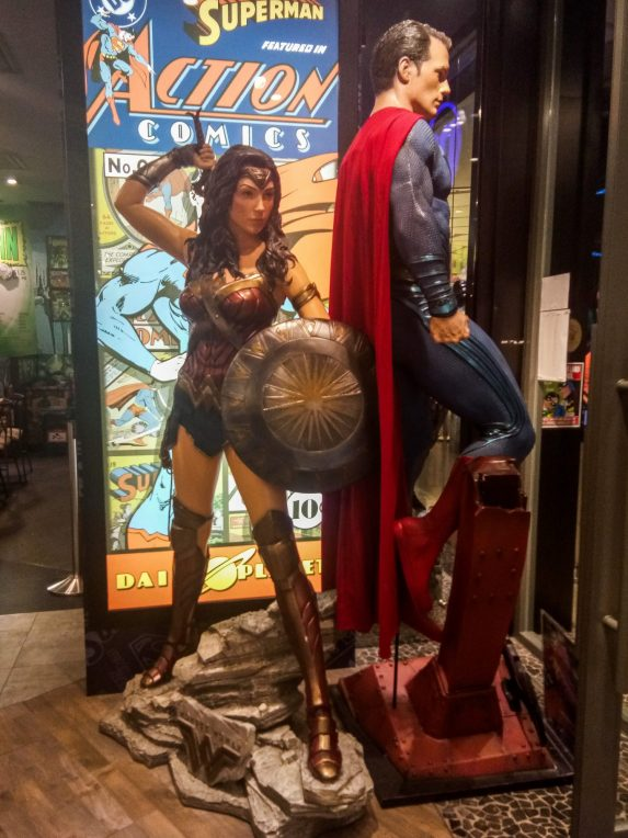 Life statues of Wonder Women and Superman will greet patrons at the cafe