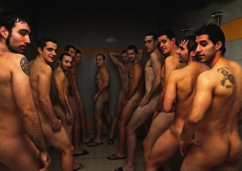 Naked men chang in locker room sauna