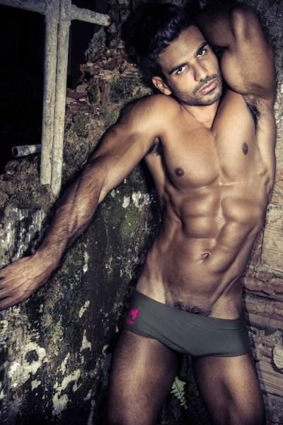 Bronzed Muscle Hunk In Underwear (1)