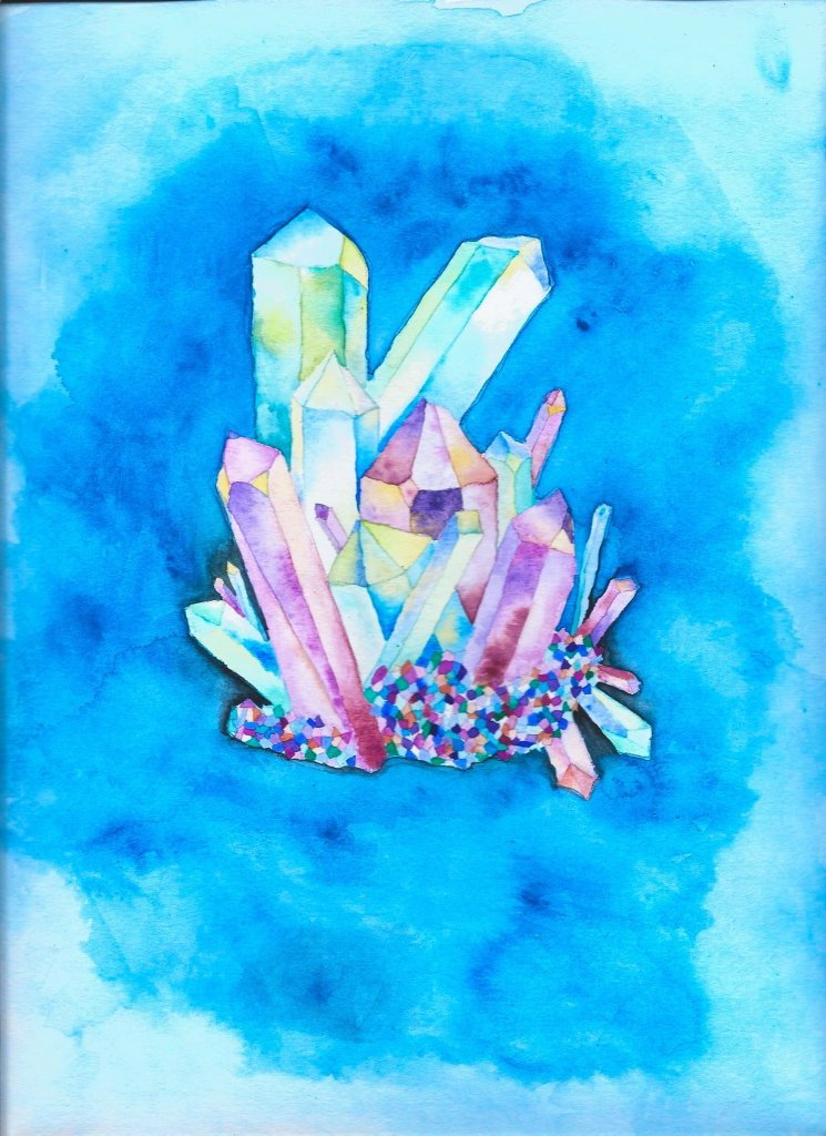 A watercolor image of crystals