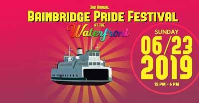 Bainbridge Pride Festival flyer featuring a ferry boat