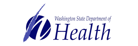 Words Washington State Department of Health with an H on top of a purple circle