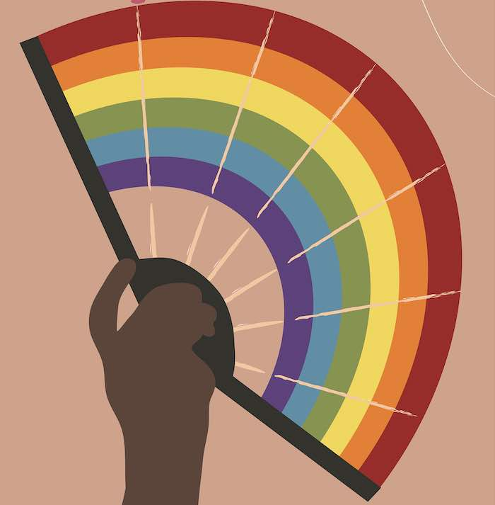 Illustration of Black hand holding fan with rainbow colors