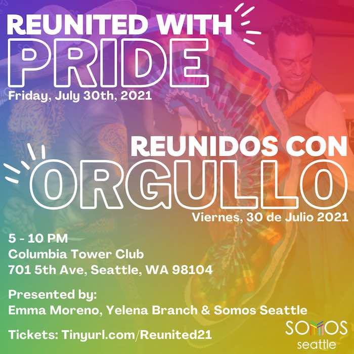 Rainbow colored image with a person dancing and event details