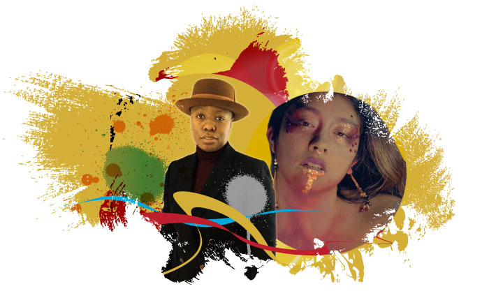 Image with broad multicolored paintbrush strokes and splashes with picture of two LGBTQ arts mentors. One wears a brown hat, black jacket and burgundy turtle neck. The other has brown and black hair with gold and red sparkly makeup.