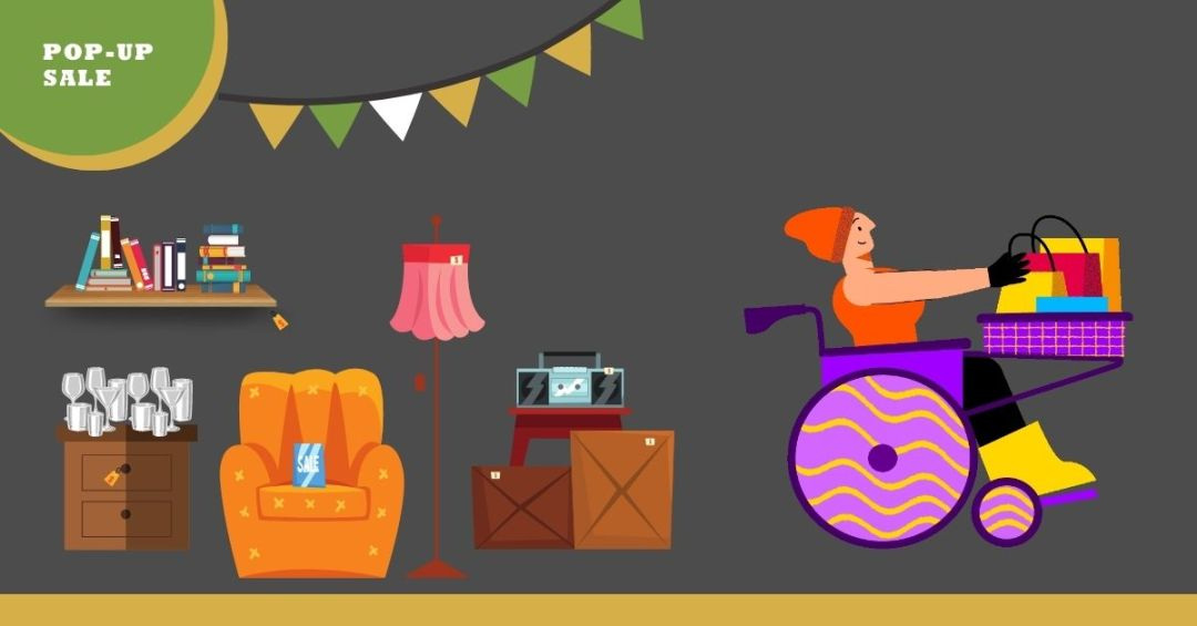 A character in a wheel chair leaving a garage sale setting that has an armchair, books, a lamp, and other objects for sale.