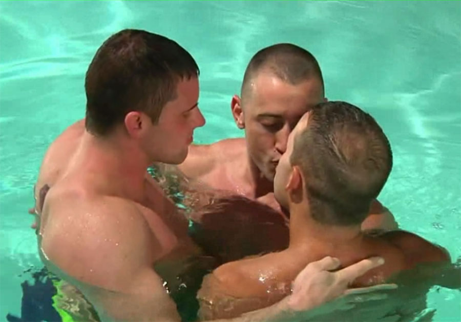 Hot gay threesome by the swimming pool