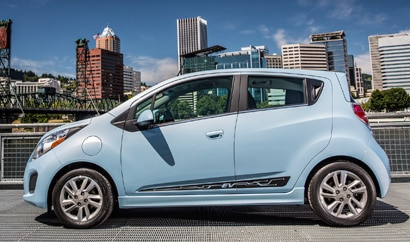 A side view of a 2014 Chevrolet Spark EV
