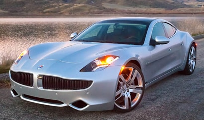 A three-quarter front view of a 2012 Fisker Karma