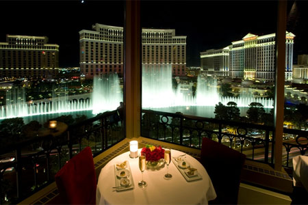 Eiffel Tower has an unobstructed view of the Las Vegas Strip, including Bellagio's dancing fountains