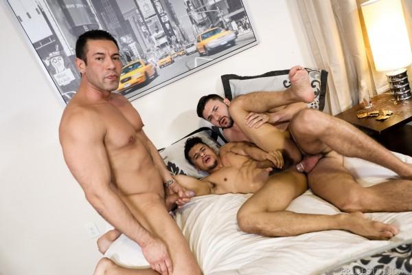 Extra Big Dicks: Sexy Armond Rizzo gets stuffed by hung couple Scott DeMarco and Alexander Garrett.
