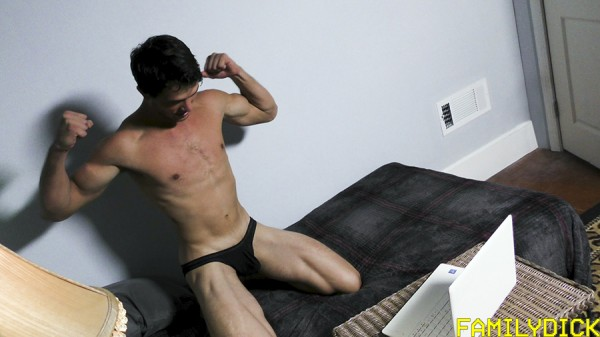Family Dick: Hot jock David gets caught by his step-dad as he's about to put on a webcam show.