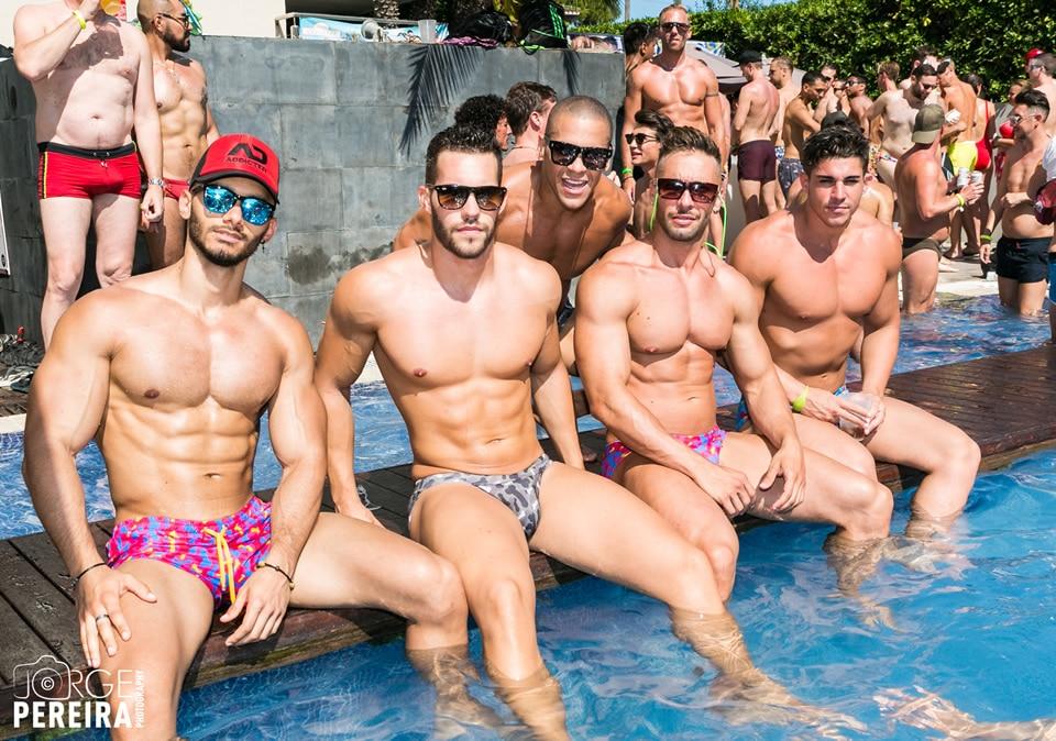 Gay guys in pool