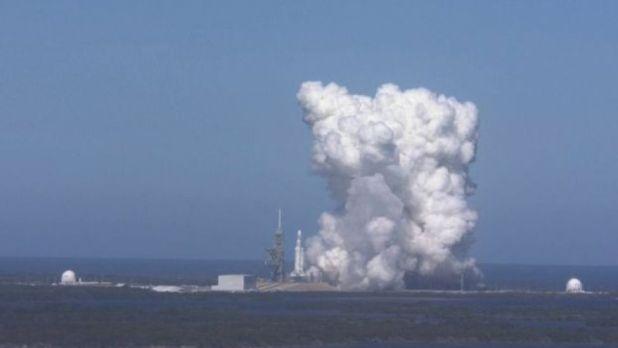 Teste estático do Falcon Heavy
